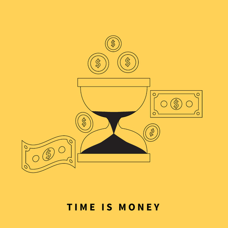 monetary: Time is money concept. Hourglass coins. Business currency and clock, dollar saving, watch and cash, sandwatch and monetary. Time management vector illustration. Black thin line on yellow background Illustration