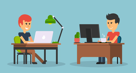 sitting at table: People work in office design flat. Business man, computer worker, Office desk table and workplace. Guy sitting on chair at table in front of computer laptop monitor and shining lamp