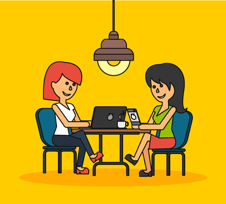 businesswoman: Woman work with laptop and smartphone. Woman and work, business woman work with smartphone, work with laptop, business phone, work technology mobile, working businesswoman with device illustration
