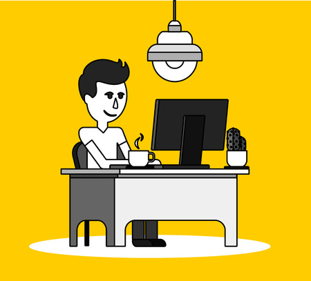 office computer: Man work with computer design flat. Computer and business man worker, man in office desk, businessman person at table workplace, character work manager vector illustration. Black on yellow