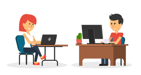 front desk: People work in office design flat. Business woman and man, computer worker, Office desk table and workplace. Guy girl sitting on chair at table in front of computer laptop monitor