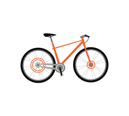cycling race: Bicycle icon design flat isolated. Bike and orange bycicle, cycling race sport. Mountain bicycle, travel bicycle vector illustration