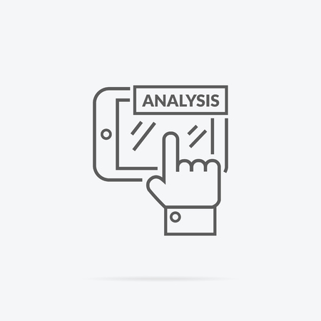 analytic: Data analysis icon flat design. Business information, finance document, chart analytic, strategy and money, statistic and development, research investment, infographic and plan illustration Illustration