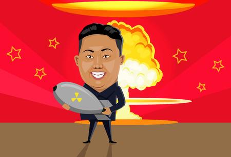 armageddon: Bomb nuclear explosion design flat. Bomb danger, nuclear explosion, war nuclear, cloud mushroom atomic, energy bomb fire, armageddon bomb, power radioactive bomb, radiation bomb illustration Illustration