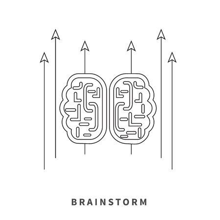 mind map: Brainstorm design concept. Brain idea thinking, mind map, creative innovation, brain icon power, business brainstorming, strategy brainstorm process thin line