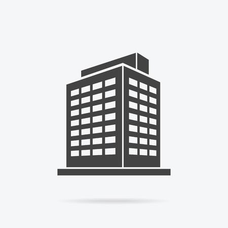 Gratte-ciel icône logo du bâtiment. bâtiment noir et gratte-ciel isolé, la tour et le bureau architecture de la ville, maison construction d'affaires logo, appartement vecteur de bureau illustration