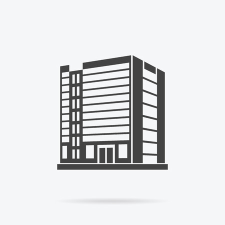 office building: Skyscraper logo building icon. Black building and isolated skyscraper, tower and office city architecture, house business building logo, apartment office vector illustration