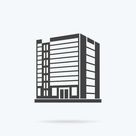 Wieżowiec budynku logo ikony. Budynek czarny i odizolowanych wieżowiec, wieża i biurowego city architektura, budowa domów logo firmy, mieszkanie ilustracji wektorowych biura