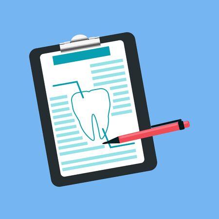 Dental tablet treatment design flat. Dental prescription, medication document medicine, treatment medical, tablet health tooth, care stomatology, analysis and inspection vector illustration