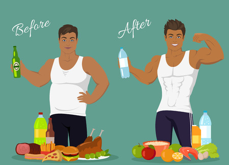 weight loss success: Figure of a man before and after weight loss, figure boy before and after, diet body man before and after vector illustration. Fat man in front of fast food. Man with sports figure near healthy food