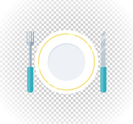 fork knife: Plate fork knife design flat icon. Food plate, dinner plate isolated, kitchen and restaurant, lunch dining fork knife plate vector illustration