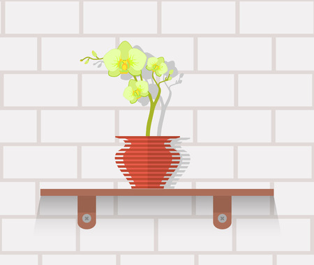 plant in pot: Houseplant design flat concept. House plant pot isolated, indoor plants flower and green nature, leaf and pot, gardening growth vector illustration. Vase with flowers on shelf against wall of brick