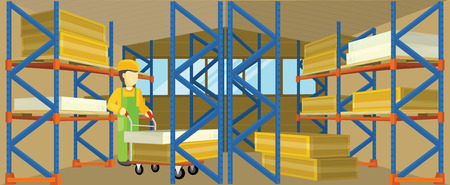 warehouse interior: Equipment delivery process of the warehouse. Warehouse interior, logisti and factory, loader man in warehouse building exterior, business delivery, storage cargo vector illustration