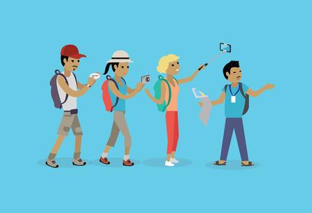 Los turistas gente grupo estilo plano. grupo de los viajes y el turismo, tour y aislado ilustración vectorial de ocio guía, vacaciones y la gente de turismo turista verano. Grupo de turistas