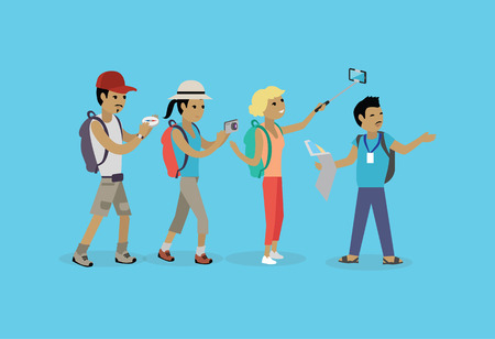 tour guide: Tourists people group flat style. Travel and tourist group, tour and tourist isolated guide, vacation and tourist people summer leisure vector illustration. Group of tourists