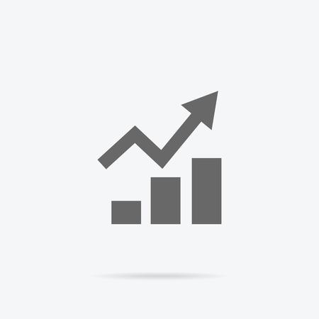 logo marketing: Graph flat sign design concept. Graph pie infographics icon, diagram marketing, report data, rising up statistic finance presentation, market information financial logo vector illustration