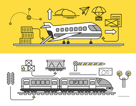Freight Forwarding by air and rail by train. Transport delivery, shipping import industry, distribution and logistic, export railway transportation. Set of thin, lines, outline flat icons Illustration