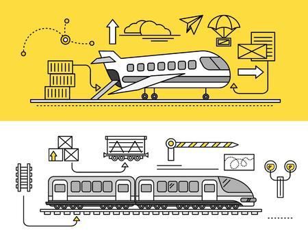Transporte de Carga por avión y tren en tren. entrega de transporte, la industria de importación del envío, distribución y logística, el transporte ferroviario de exportación. Conjunto de fina, líneas, describen los iconos planos Ilustración de vector