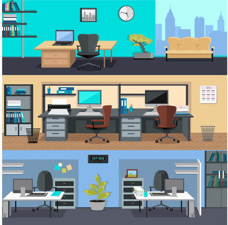 backgrounds: Set of modern office interior with designer desktop in flat design. Interior office room. Office space. Vector illustration. Working place in office interior workplace