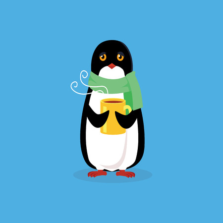 pinguin: Animal penguin design flat. Bird penguin vector, cartoon polar animal winter isolated, penguin in scarf, wild penguin character with scarf and cup illustration Illustration