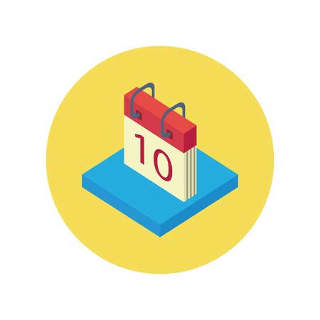 organizer page: Isometric calendar app icon flat style design. Calendar icon page, monthly 3d calendar logo, date and time, web organizer application, button organize today vector illustration