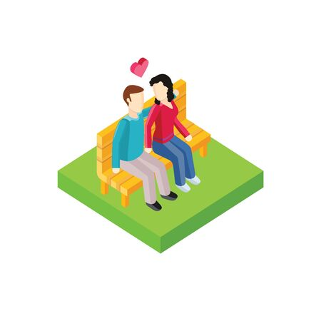 love icon: Couple on bench isometric design. Couple man and woman, love  people together romantic, girlfriend and boyfriend, lover sitting, young two valentine, togetherness vector illustration