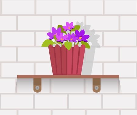観葉植物フラット設計。分離した家植木鉢、観葉植物の花と緑の自然、葉および鍋、ガーデニングの成長ベクトル イラスト。レンガの壁の棚に花と