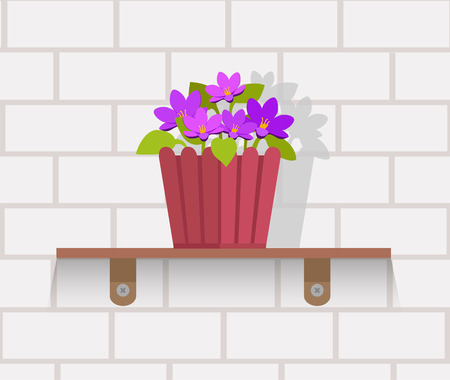 Houseplant design flat concept. House plant pot isolated, indoor plants flower and green nature, leaf and pot, gardening growth vector illustration. Vase with flowers on shelf against wall of brick
