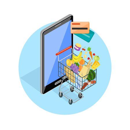 aliments: Concept de shopping via la boutique internet. Isom�trique en ligne et smartphone, carte salaire, 3d web vente, e-commerce et des denr�es alimentaires, la technologie de l'entreprise, la commodit� et mobile. Smartphone et panier de nourriture