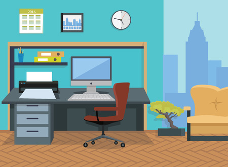 desktop printer: Modern office interior designer desktop in flat design. Interior  room. Office space. Vector illustration. Working place in office interior workplace. On table computer and printer near chair and sofa
