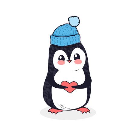 pinguin: Animal penguin design flat. Bird penguin vector, cartoon polar animal winter isolated, wild penguin character with the cap and heart illustration Illustration