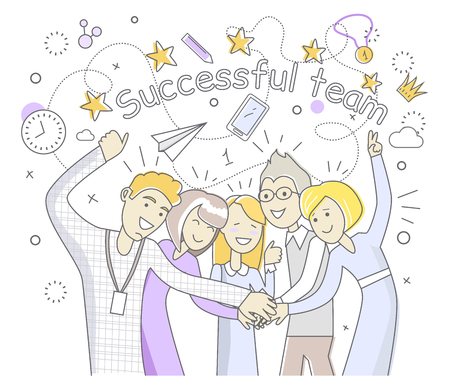 spirit: Successful team people design flat. Success team and business success, team work and team spirit, business team, team goal, business people teamwork and worker partnership vector illustration Illustration