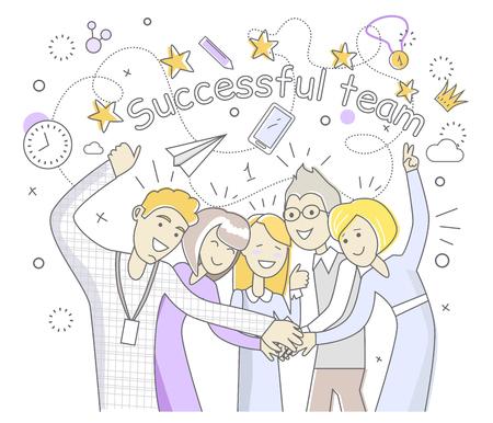 Succesvol team mensen te ontwerpen plat. Succes team en zakelijk succes, teamwork en teamgeest, business team, team doel, mensen uit het bedrijfsleven teamwerk en werknemer partnerschap vector illustratie