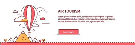 illustration journey: Air tourism web page design flat. Balloon travel, flight transportation, colorful air basket, vacation freedom, fly journey, adventure high, airship and nature vector illustration Illustration