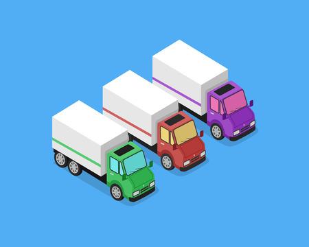 ciężarówka: Izometryczna ikona samochodu dostawczego. Trzy ciężarówki 3D dostawy. Obsługa koncepcji szybkiej dostawy. Isometric cargo truck van ciężarówki samochód samodzielnie na niebieskim tle