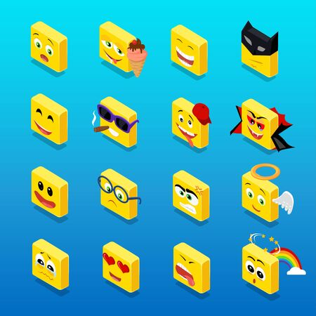 face illustration: Isometric set smiley funny design. Smiley isometric, smile and smiley face, emoticons and square smiley icon, happy 3d smiley vector, face cartoon, emoticon funny  vector illustration Illustration