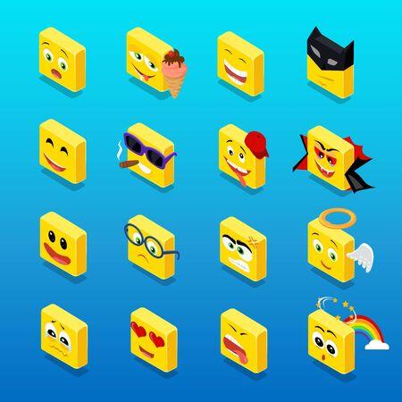 lachendes gesicht: Isometrischen set smiley lustiger Entwurf. Smiley isometrische, Lächeln und Smiley, Emoticons und Quadrat Smiley-Symbol, glücklich 3D-Smiley Vektor, Gesicht Cartoon, Emoticon lustige Vektor-Illustration