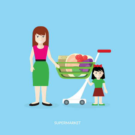 retail shopping: People in supermarket interior design. People shopping, supermarket shopping, marketing people, market shop interior, customer in mall, retail store vector illustration