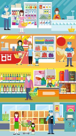 supermarket shelf: People in supermarket interior design. People shopping, supermarket shopping, marketing people, market shop interior, customer in mall, retail store vector illustration