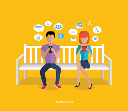 addict: Internet addiction disorder technology. People man and woman game smartphone on bench, web addict, internet dependence, technology mobile addiction, social web addiction vector illustration