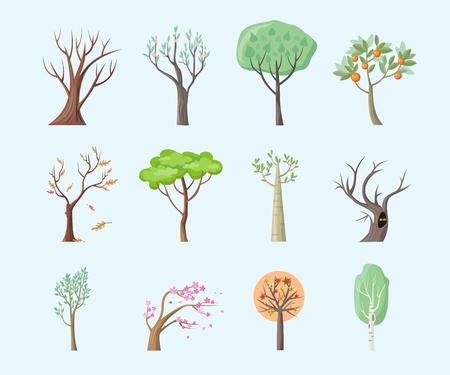 고립 된 나무의 집합은 평면 설계. 나무 숲, 절연 리프 트리 벡터, 녹색 나뭇 가지 자연 식물 에코 분기 트리, 유기농 천연 나무 그림