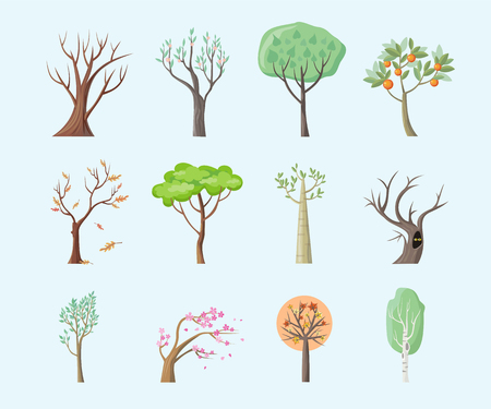 Set of isolated trees design flat. Tree forest, leaf tree vector isolated, tree branch nature green, plant eco branch tree, organic natural wood  illustration Ilustração