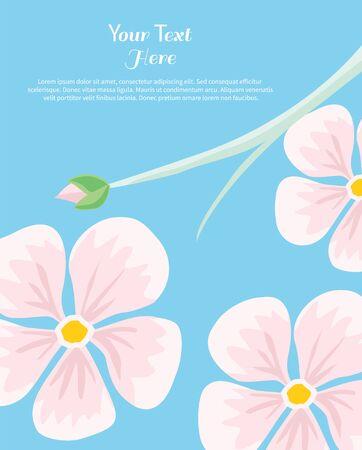 insertion: Flower text insertion. Frame flower border, floral love card, border form frame vector illustration on blue background Illustration