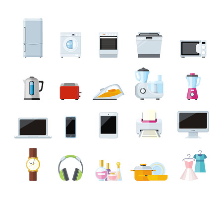 home equipment: Set of household appliances design flat. Appliances household items, washing machine, kitchen appliances home, machine and equipment, refrigerator and microwave vector illustration