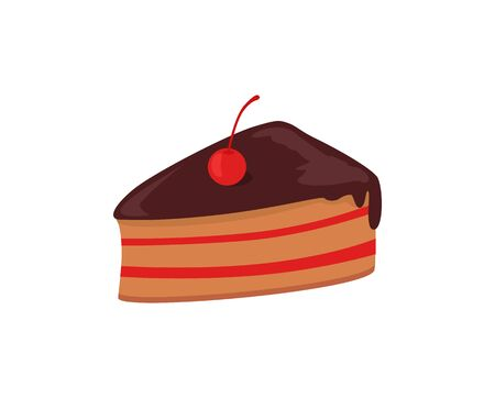 cake slice: Part of cake with cherry design. Birthday or wedding cake slice, chocolate dessert cookies, cherry and chocolate, food sweet pie with, cream and fruit vector illustration Illustration