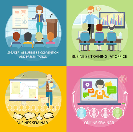 mentor: Set of banner seminar training business. Banner online web seminar with business speaker, presentation training conference audience, mentor meeting with people and speak lecture, vector illustration Illustration