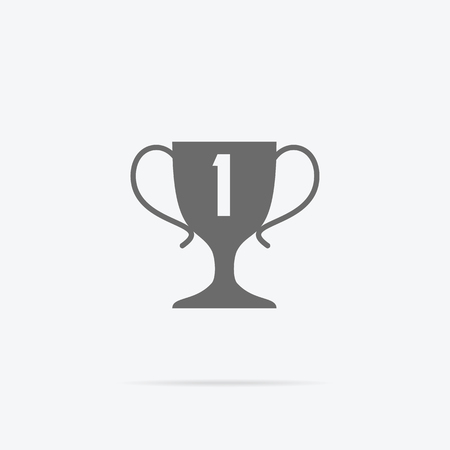 prize winner: Winner concept goblet design flat icon. Winner award trophy success and victory and prize logo, competition sport winner game, reward and achievement vector illustration Illustration