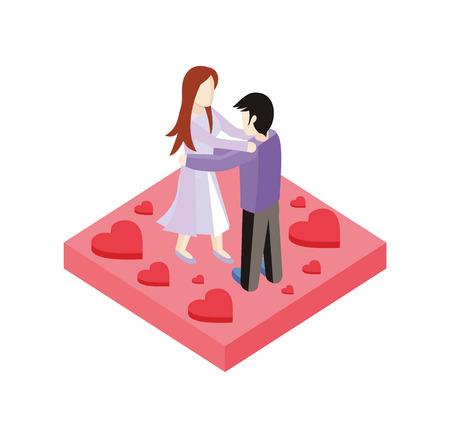 romance love: Young love couple dance isometric style design. 3d people romance woman and man dancing on place with heart, love couple  boy and girl isometric design embracing with passion, vector illustration Illustration