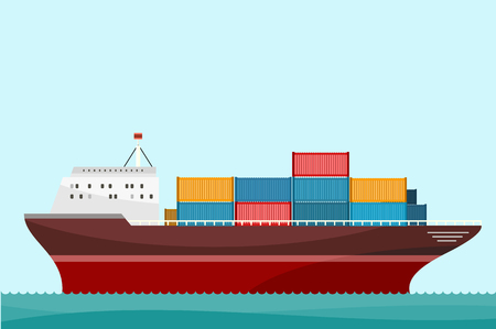 Cargo ship containers shipping. Delivery ship, cargo container, cargo truck, sea transport delivery, transportation delivery ocean, freight export delivery vector illustration