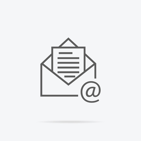 Envelope open design line thin. Letter icon mail. Email logo. Vector illustration